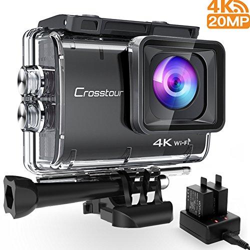 Crosstourアクションカメラ本当の4K 20MP解像度WIFI内臓40M防水水中カム手振れ補正タイムラプス&ループ録画二つ1350mAh充電式バッテリーUSB充電器と多様なアクセサリーセット調節可能な広角レンズバイク・車・サーフボード取り付け可能スポーツカメラCT9500