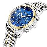 SONGDU メンズ アナログ 夜光 腕時計 ステンレスバンド ビジネス クロノグラフ 日付 クォーツ ウォッチ (ゴールド ブルー)