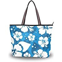 Hawaiian Hibiscus Flower Shoulder Bags Large Handle Ladies Handbag