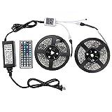 WenTop LEDテープライトスーツ 両面テープ SMD 5050 防水ledテープ 10m 300連 正面発光ledテープ led RGB 30leds/m 44K リモコンと12v電源 高輝度 切断可能 明るいライト FoxKonn