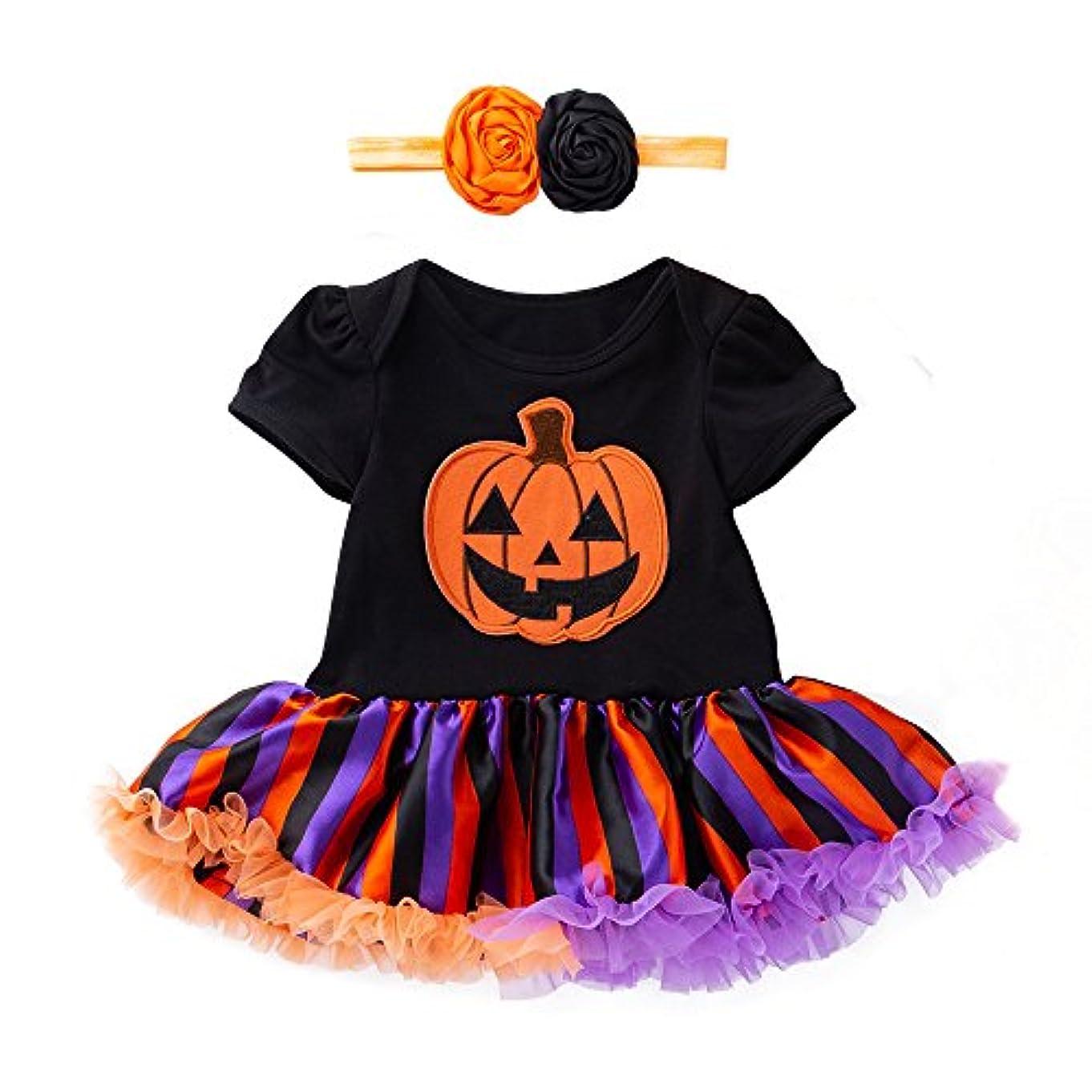 許可するバーゲン倫理(プタス) Putars 幼児の女の子かわいいパンプキンの弓のドレス+ヘッドバンドハロウィーンの装飾の服 3ヶ月 - 18ヶ月