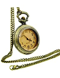 ガラスケース ペンダントウォッチ 懐中時計 ネックレス ポケットウォッチ アンティーク レトロ