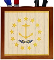 Rikki Knight Rhode Island Flag on Distressed Wood Design 5-Inch Wooden Tile Pen Holder (RK-PH8652) [並行輸入品]