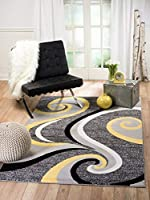 Summit NV-M6EG-PY92 39 Yellow Grey Swirl Area Rug Modern Abstract Many Sizes Available (3'.6 x 5') 3'.6 x 5' [並行輸入品]