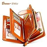 財布 レディース 長財布 二つ折り 牛革 多機能 24ヶ所カードケース 超大容量 財布 ブラウン