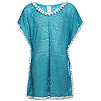 LEINASEN Little Girls' Swim Cover Up - Summer Beachwear V-Neck with Tassel Crochet Mesh Cover-Ups for Kids 6-10 Years