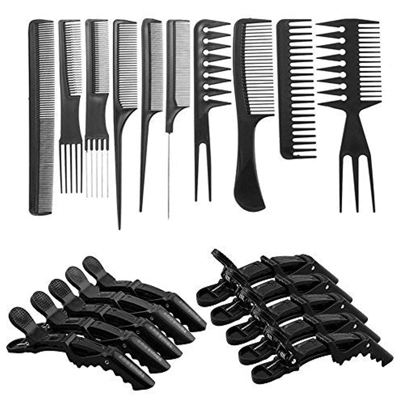 頭痛ハブブスラッシュ10 Pcs Professional Hair Styling Comb Set with Styling Clips [並行輸入品]