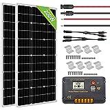 ECO-WORTHY 200W ソーラーパネル発電キット: 2個 100W 単結晶ソーラーパネル + 10m ソーラーケーブル(5m 赤・5m 黒)+ 20A チャージコントローラー + Y 型コネクター + Z 取付金具