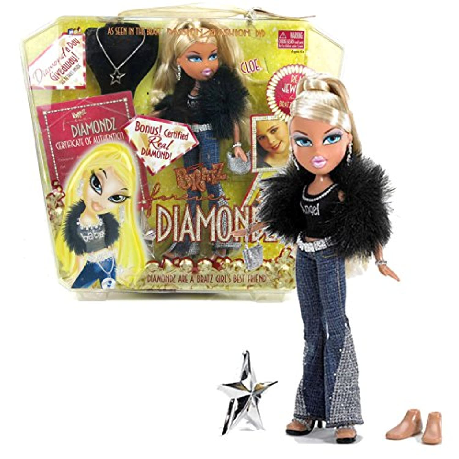 MGA Entertainment Bratz Forever Diamondz Series 25cm Doll - CLOE in Black Tops, Blue Denim Pants and Faux Fur Jacket with Necklace, Purse, Extra Pair of Feet and Hairbrush