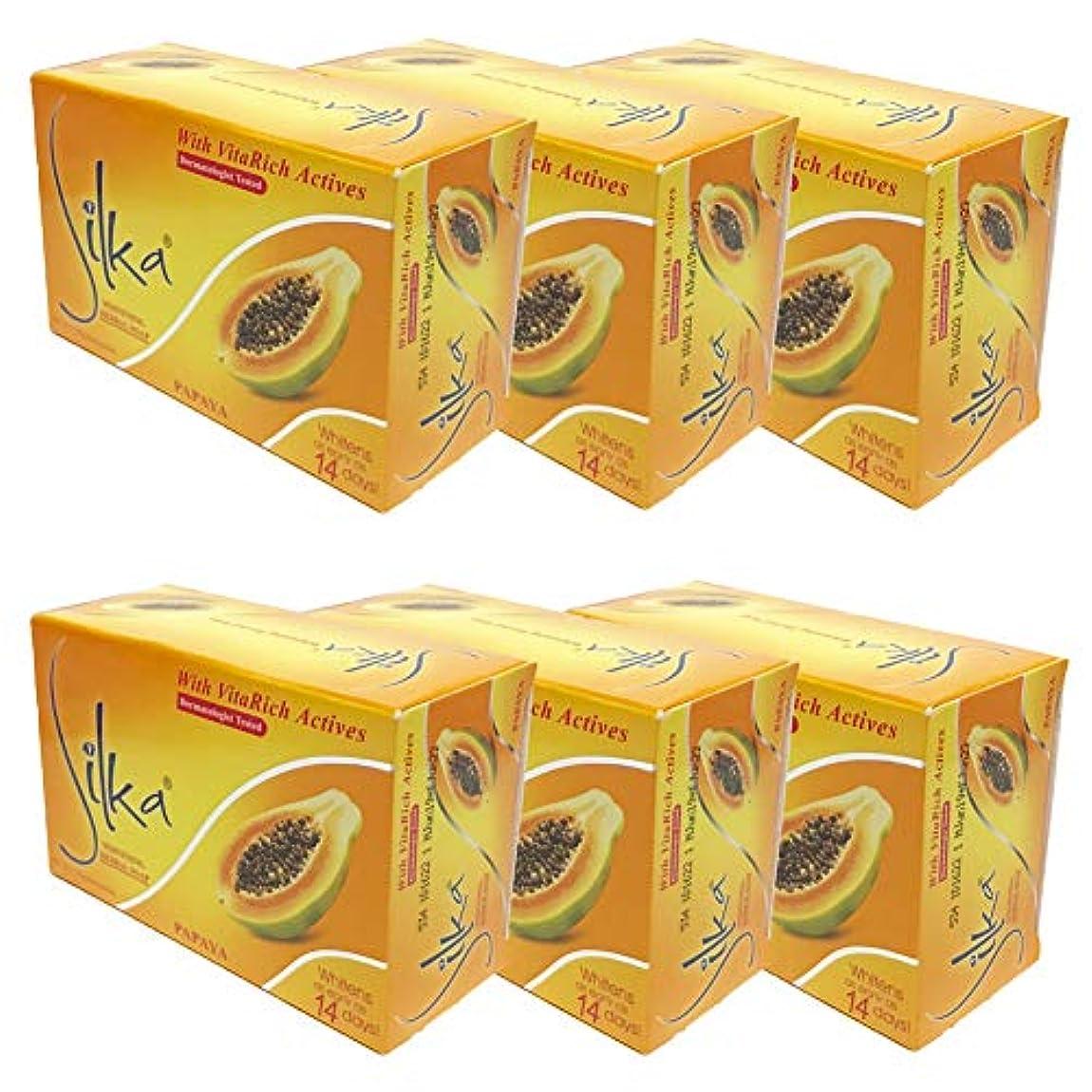 治療マカダム衛星シルカ パパイヤソープ 135g Silka Papaya Soap (6個セット)