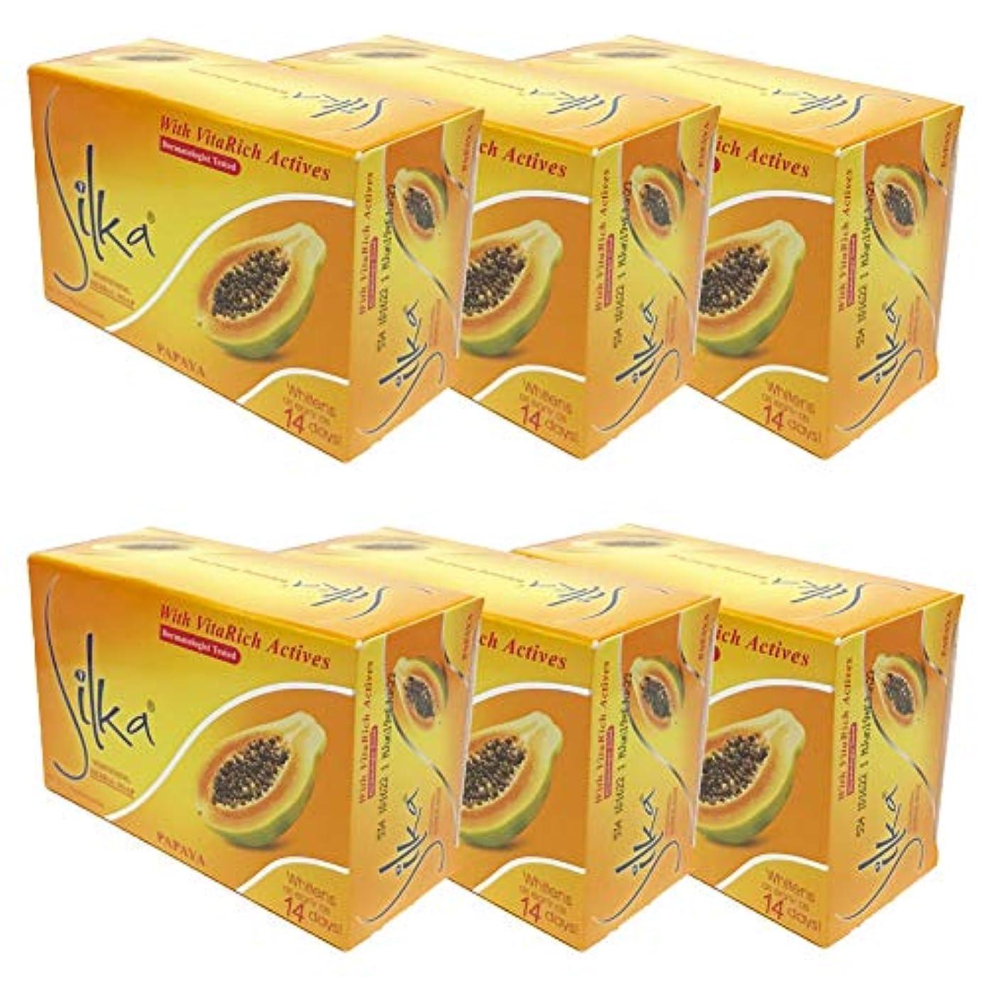 頑丈不機嫌そうなパフシルカ パパイヤソープ 135g Silka Papaya Soap (6個セット)