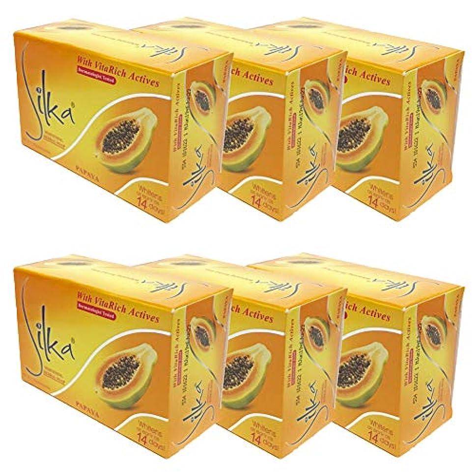 穿孔する賠償野なシルカ パパイヤソープ 135g Silka Papaya Soap (6個セット)