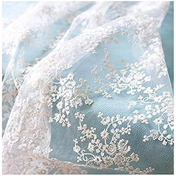 e51b7116501bf IRIZ130 90cm メッシュレースファブリック花柄刺繍 生地生布 (Pattern D)