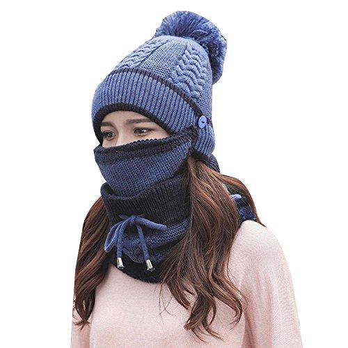Pawaca ニット帽 レディース ポンポン 耳あて付 かわいい 秋冬 防寒 おしゃれ 小顔効果 ニ...