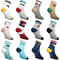 12 Pair Toddler Socks With Grips Boys Crew Socks Infant Kids Trampoline Walker for Baby Stroller