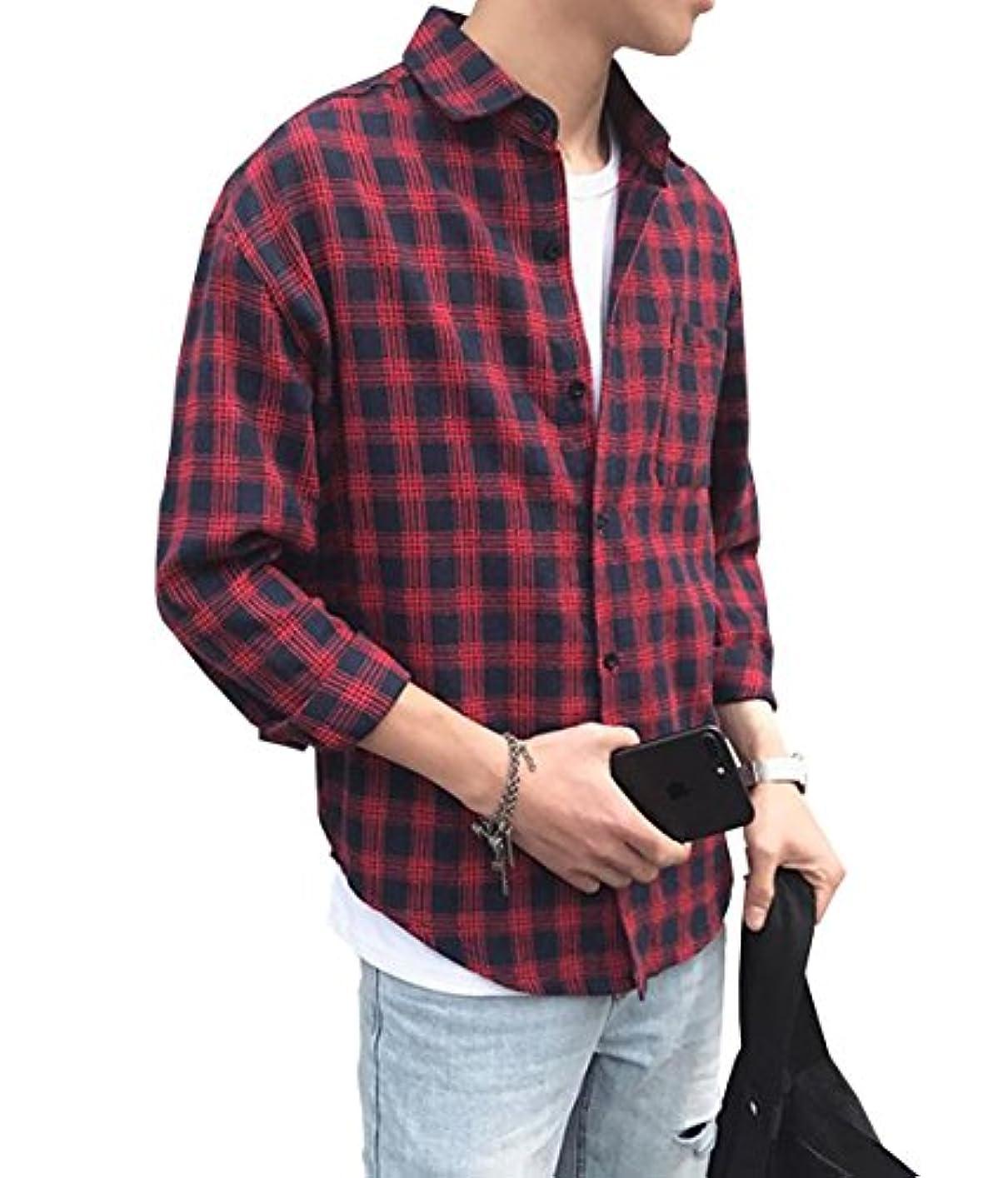 菊インタラクションアンソロジーPuHao (プハオ) メンズ ゆったり きれいめ チェックシャツ シャツ カジュアルシャツ 春 おしゃれ シンプル ワイシャツ 長袖 薄手 ビジネス シャツ ブラウス メンズ Tシャツ カットソー (レッド, L)