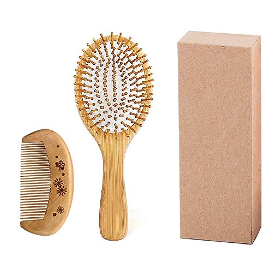 接辞文芸ブロックするすべての髪のタイプ、髪のDetangler、竹の木のクッションマッサージのための竹の毛と100%ナチュラルヘアブラシ、女性と男性と子供のためのアンチスタティックヘアブラシ(ラウンド)