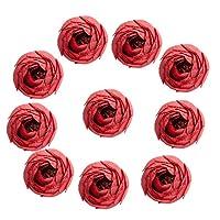 SONONIA 結婚式 DIY造花 ローズフラワー つぼみ型 人工シルク 飾り 3.5cm10個 全9色選べ - レッド