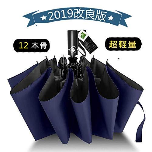 折りたたみ傘 自動開閉 頑丈な12本骨 大きい メンズ傘 Teflon加工 超撥水 210T高強度グラスファイバー 耐強風 傘ケース付き