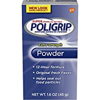 PoliGrip Super Denture Adhesive Powder, Extra Strength 1.6 oz Container (Pack of 6) by Super Poli-Grip