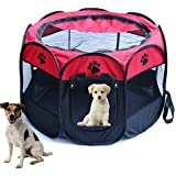 Dog playpens Large, Pen Kennel for Dogs Puppy Cats Rabbits Small Animals, Portable Pets Tent Indoor & Outdoor Red S