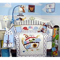 SoHo Ark in Genesis Baby Crib Nursery Bedding 13 pcs included Diaper Bag with Changing Pad & Bottle Case by SoHo Designs