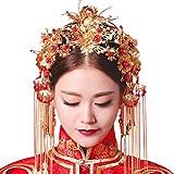 [アイルポ]ドレスや漢服を 美しく彩る ゴールド ヘッドドレス (パールの赤い髪飾りイヤリングセット)
