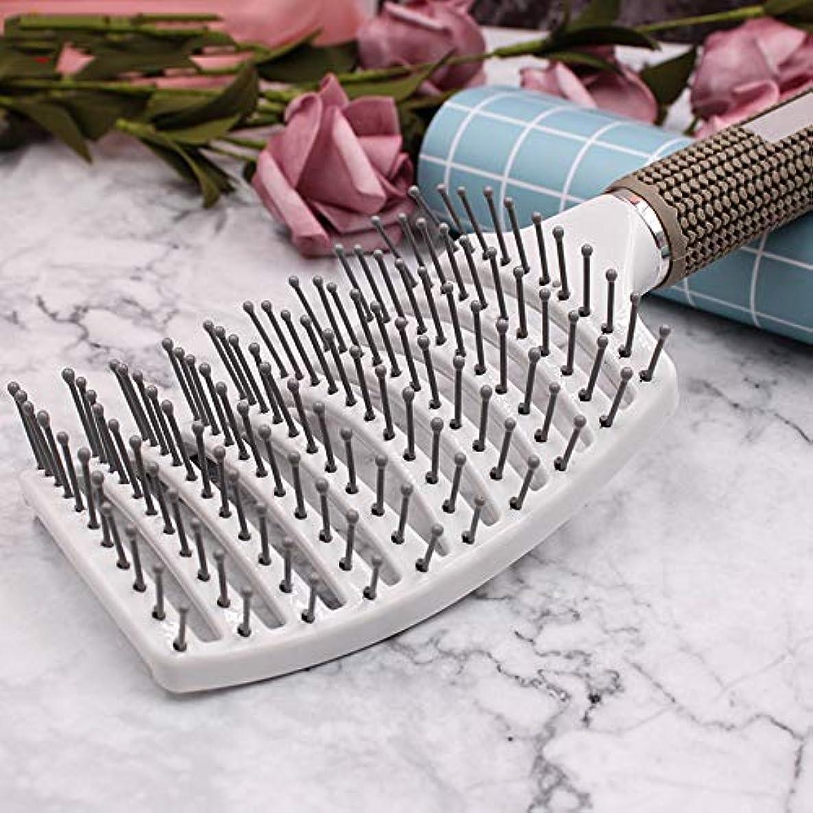 応援するお肉検出ヘアブラシ帯電防止女性理髪大きな曲線櫛マッサージ大プレート櫛,White
