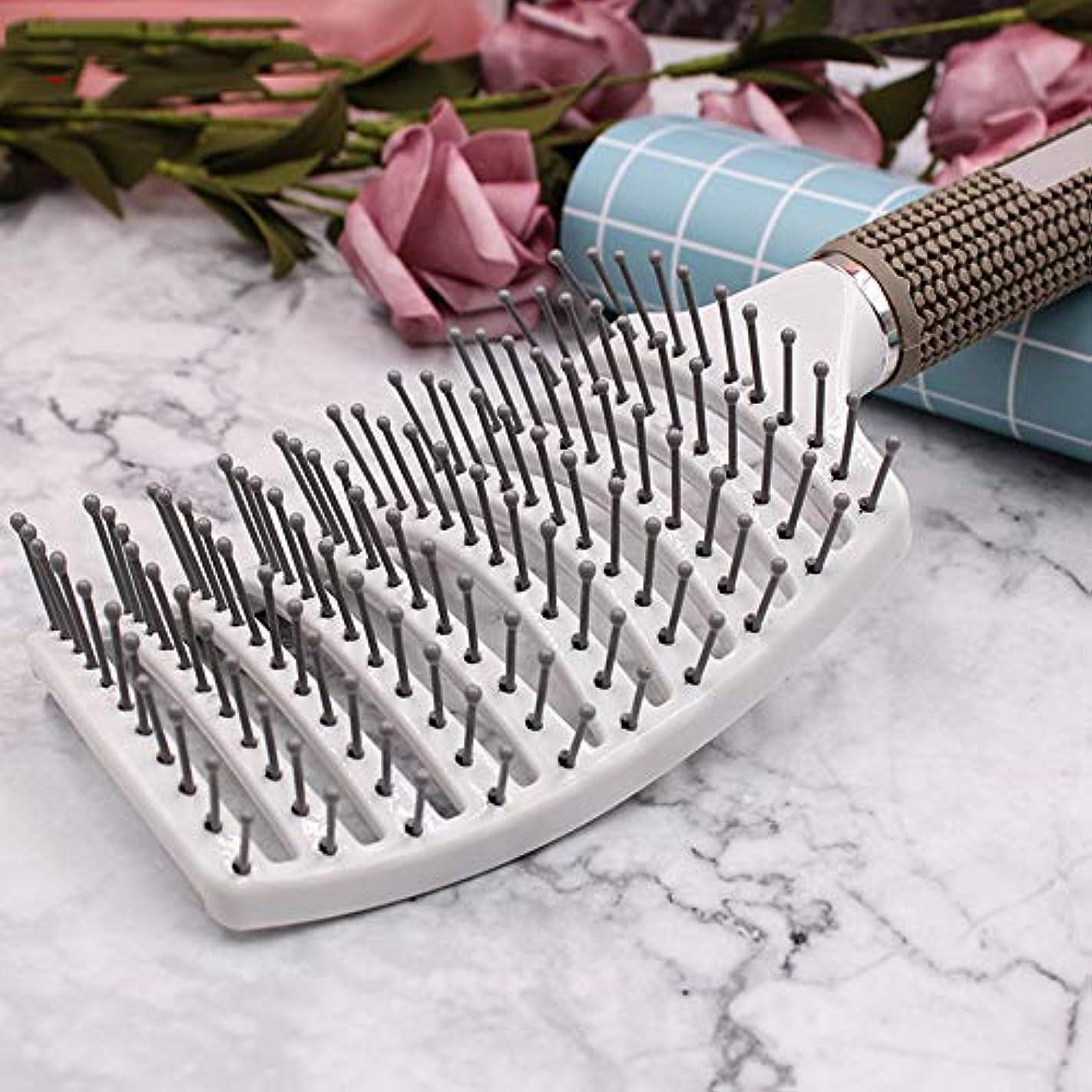 適応的抑制する真実ヘアブラシ帯電防止女性理髪大きな曲線櫛マッサージ大プレート櫛,White