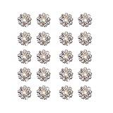 ノーブランド品 20個 DIY ソーイング クラフト用 クリスタル ボタン ビーズ フラワー型 12mm (AB色)