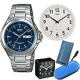 【カシオ時計5点セット】CASIO腕時計STANDARD MTP-1228DJ-2AJF&置時計TQ-140-1JF&掛時計IQ-58-7JF&ブルー1本用ケース&シリコンクロス