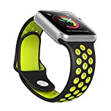 Ausche Apple Watch スポーツバンド アップルウォッチ シリコン 交換ベルト Apple Watch全機種対応(42mm ブラック&イェロー)