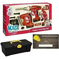 おもちゃ電源ツールセットby Kid Connection – Includes 12インチツールボックスand 20ビジネスカードby LSG Toys。Awesomeツールおもちゃfor Toddlers。