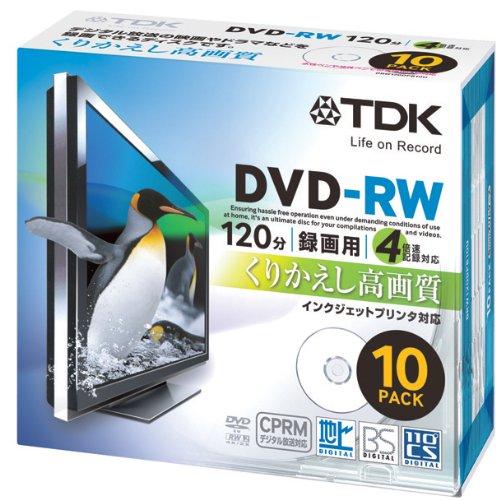 TDK 録画用DVD-RW CPRM対応 2-4倍速対応 インクジェットプリンタ対応(ホワイト) 10枚パック 5mmスリムケース DRW120DPB10U