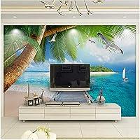 Xbwy カスタム写真壁紙3D海辺の風景パームアイランド木製の橋壁画リビングルームの寝室の背景-450X300Cm