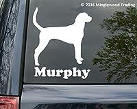 """Foxhound犬ビニールデカールステッカーカスタムでパーソナル名前5"""" x 6"""" ホワイト"""