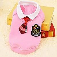 HVTKLN 新しいキャンパスペット イングランド犬服テディ外国貿易ペットスクールユニフォームスピード HVTKLN (Color : Pink sweater, Size : M)