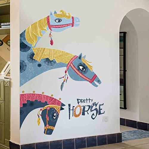 ウォールステッカー 壁紙 北欧 インテリア ポスター おしゃれ 馬 大きめサイズ 子供部屋 赤ちゃん 幼稚園 子供 部屋 シール式ステッカー 飾り ウォールデコ ウォールペーパー M0140