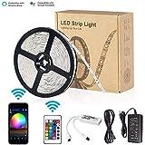 LNSTUDIO LEDスマートテープライト Alexa/Google Home対応 アプリ&リモコン制御 両面テープで好きな場所に貼り付け可能ストリップライト ハサミでカットして長さを変わえられる・ショーケースなど店舗用照明にも最適 RGB SMD5050 防水仕様 5M