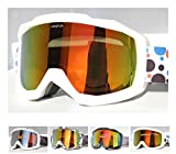 UNIQFUN(ユニクファン) ゴーグル スノーボード スキー ミラーレンズ ダブルレンズ 曇り止め UVカット メンズ レディース ケース付 メガネ併用 眼鏡対応 七色選べる