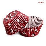Biuuu 250xクリスマスカップケーキラッパー、ペーパーマフィンベーキングカップライナーケース誕生日の装飾