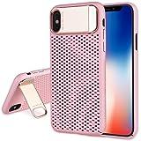 iPhone X ケース 【スタンド機能付き】 放熱デザイン 薄型 軽量 QI充電対応 耐衝撃 アイフォン X 保護カバー (ピンク)