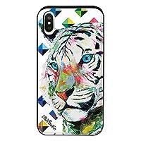 iPhoneXS iPhoneケース (ハードケース) [カード収納/耐衝撃/薄型] Nijisuke (ニジスケ) ホワイトタイガー CollaBorn (カラフル) (iPhoneX対応)