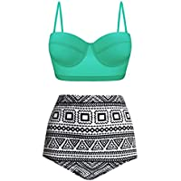 Angerella Women Retro Vintage Underwire High Waisted Bathing Suits Bikini Set