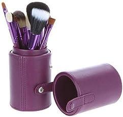 IvyOnly メイクブラシセット12本 化粧筆 丸いタイプ 化粧ブラシ 極細毛 収納ケース付き  (パープル)