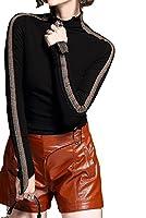 レディース ラメライン入り薄手長袖ハイネックシャツom483 (ブラック, L)