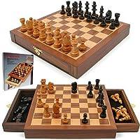 Inlaid Walnut Wood Cabinet Style Magnetized Staunton Chess Set - Includes 2 Bonus Decks of Cards! by TMG [並行輸入品]