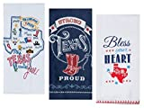 Kay Dee Designs 装飾コットンキッチンタオル3枚セット 白 青 赤 プリント 2枚 小麦粉袋とテリータオル1枚