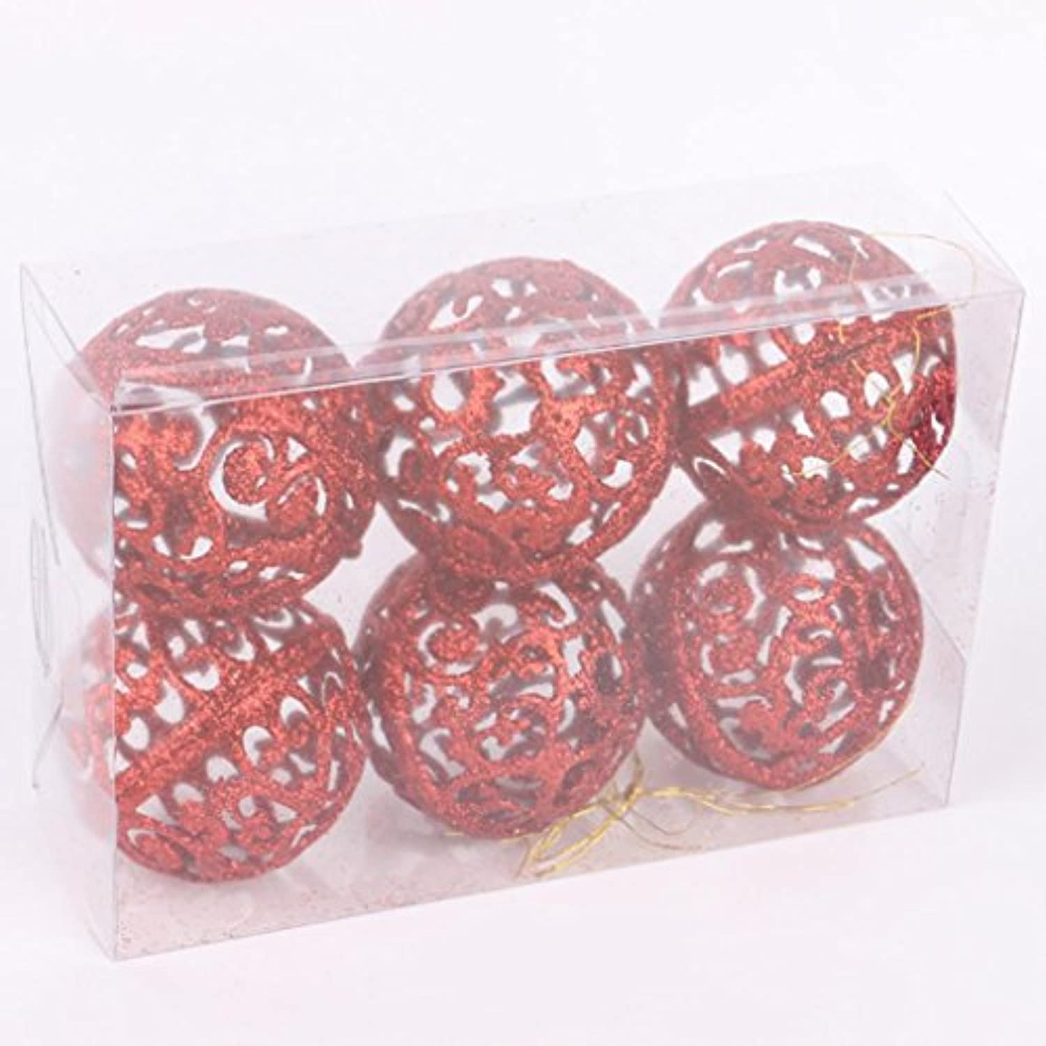 inverlee 6個Aセット6 cmクリスマスHollow OutグリッターボールXmasツリーHanging Ornaments Household Supplies