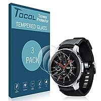 [3パック] Tocol Samsung Galaxy Watch用スクリーンプロテクター 46mm、スマートウォッチ強化ガラス [指紋防止] HD クリア 硬度9H
